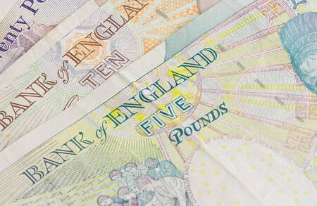 British five ten and twenty pound notes photo