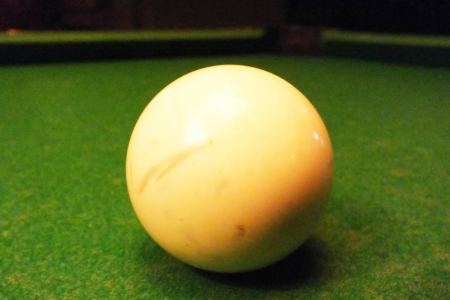 emulate: close up white ball snooker .