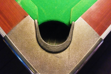 contend: pit of corrner table snooker Stock Photo