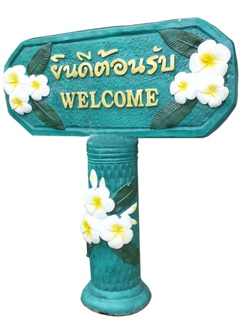 welcom: Welcom label with two language English and Thai