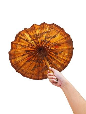brolly: Sostenga el viejo paraguas antiguo.