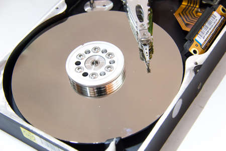 terabyte: close-up of a computer hard disk   Stock Photo