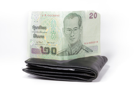 billfold: Twenty baht on billfold . Stock Photo