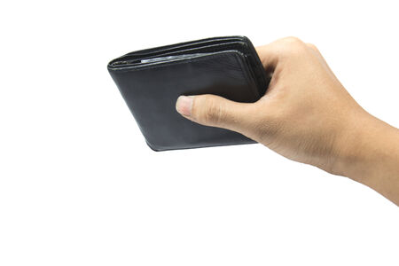 billfold: hold the billfold on the white background .