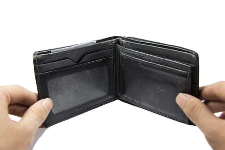 billfold: Open a blank billfold on the white background