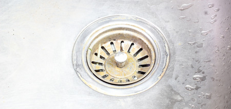 sink drain: Drain hole of the sink Stock Photo