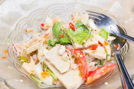 vermicelli salad, Thai food with tomatoes, onions and meat photo
