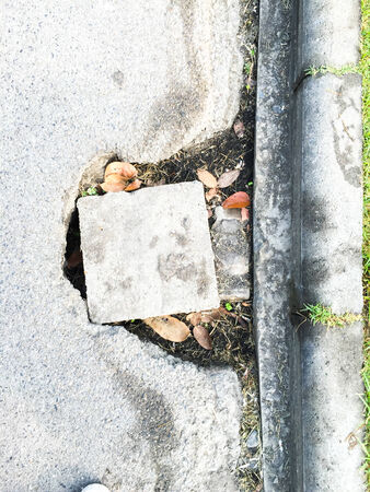 wornout: worn-out concrete road