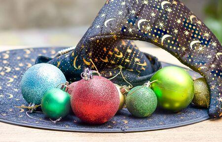 black magic: Colorful ball on the black magic hat