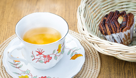 antique dishes: Hot and aroma tea with chocolate bread