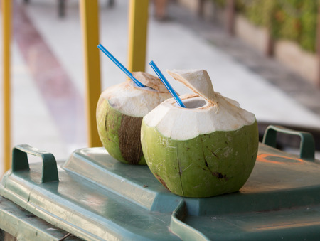coconut drink: Two Coconut drinking, It cool and fresh