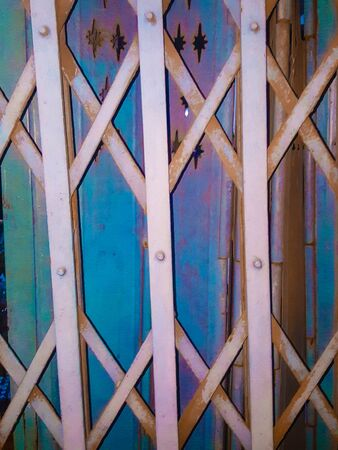 strong skeleton: Colorful steel door texture