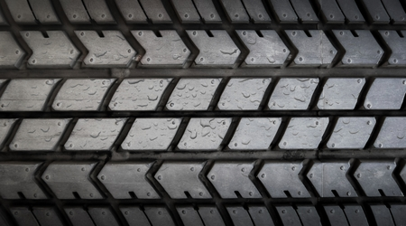 drop water on tire texture Stock Photo
