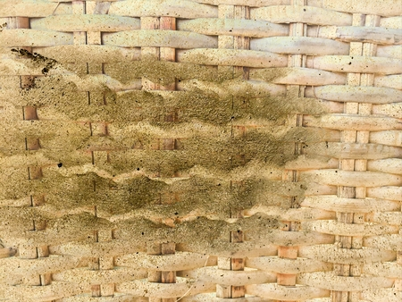 dirty dust stain on old bamboo weave texture Stock Photo