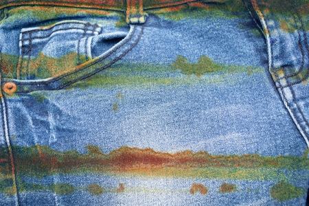 messy clothes: corrosion stain on jean texture
