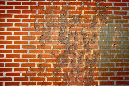 rough corrosion stain on brick wall texture Stock Photo