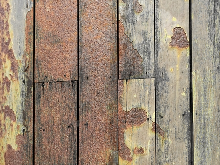 corrosion stain on vertical wood wall texture Stock Photo