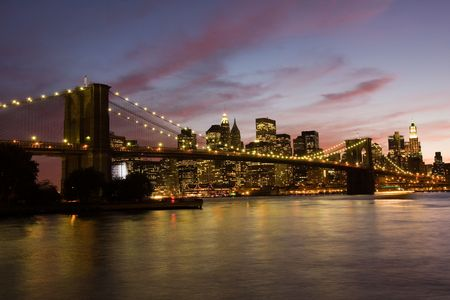Brooklyn Bridge at sutset photo