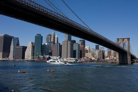 Brooklyn Bridge and Manhattan in New York City photo