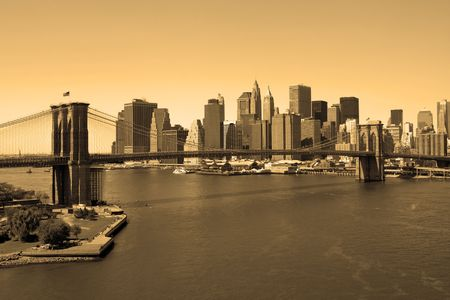 Brooklyn Bridge and Manhattan in sepia, view from Manhattan bridge Stock Photo
