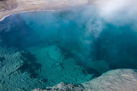 overtone: Hot pool in Yellowstone National Park, Wyoming Stock Photo