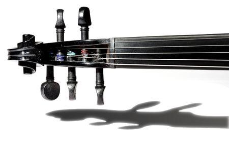 흰 배경에 고립 된 5 현 검은 바이올린