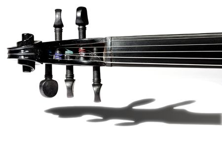 5-string black violin isolated on white background