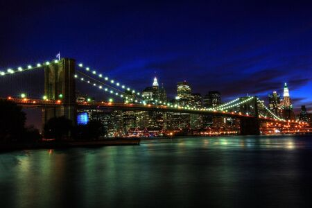 Brooklyn bridge at night. HDR picture photo