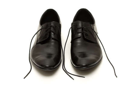 Classic shiny black men's shoes with untied laces Stock Photo - 6012366