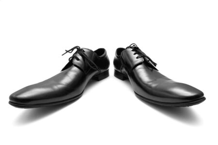Classic shiny black mens shoes. photo