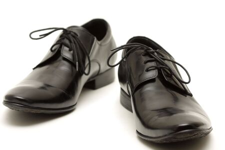 Classic shiny black mens shoes photo