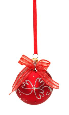Red christmas ball with ribbon and bow isolated on white background photo