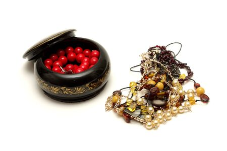 Various jewellery with box isolated on the white background photo