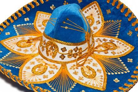 흰색 배경에 멕시코 Mariachi 모자