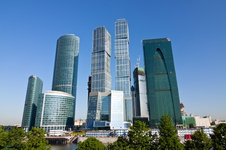 Scyscrapers of Moscow city under blue sky with clouds