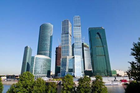 러시아 모스크바 시내에서 현대 비즈니스 고층 빌딩