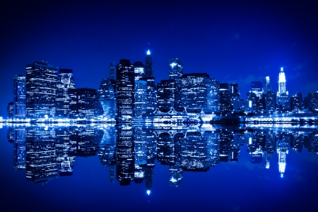 New York at night with blue hue 写真素材