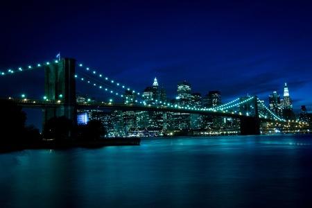 New York, Brooklyn Bridge at night photo