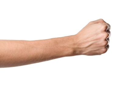 closed fist sign: Closeup man s hand isolated on white background
