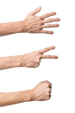 puños cerrados: Tres gestos mano Roca Papel Tijeras juego aislado en blanco