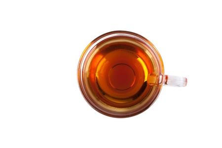 tazza di te: Tazza di tè isolato su bianco, vista dall'alto