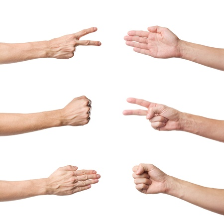 Rock Paper Scissors game set isolated on white photo