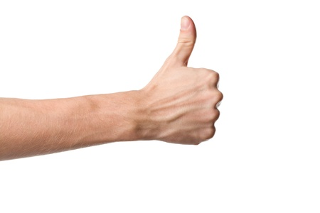 arm up: Thumbs up hand sign isolated on white background