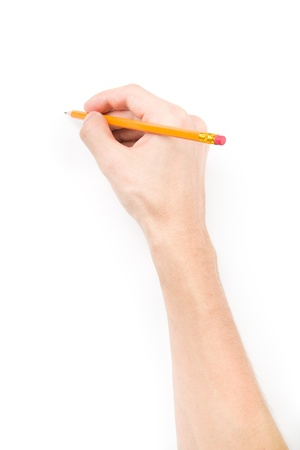 pencil writing: Hand with pencil writing something isolated on white background with shadows