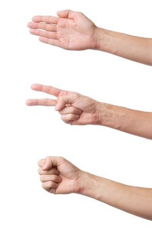 closed fist sign: Three hand gestures isolated on white background  Rock Paper Scissors game