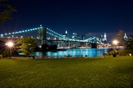 New York, Brooklyn Bridge at night  View from Brooklyn at Manhattan photo