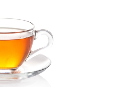 Cup of black tea with saucer isolated on white background