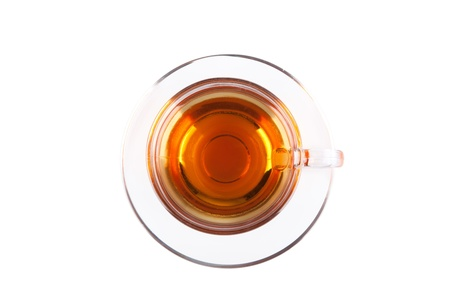 herb tea: View from above on glass cup of tea isolated on white backgrond Stock Photo