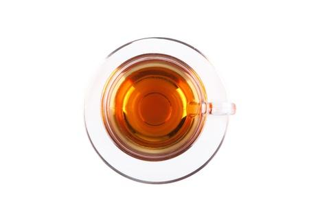 Vista de cima em copo de vidro do ch