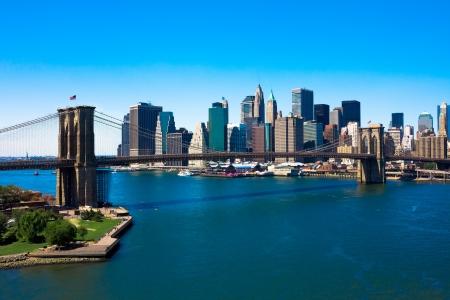 Brooklyn Bridge i Manhattan, New York City Zdjęcie Seryjne